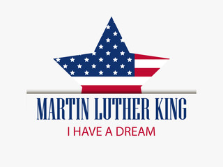 Martin Luther King Day. Star with flag usa. Celebration banner. Vector illustration