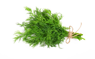 Bouquet of fresh dill bandaged with rope