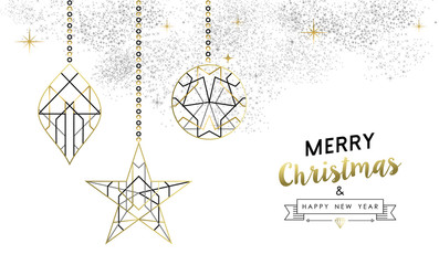 Christmas and New Year abstract gold line ornament