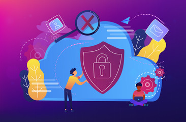 Man holding security shield and developer using laptop. Data and applications protection, network and information security, safe cloud storage concept, violet palette. Vector isolated illustration.
