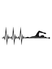 linie frequenz herzschlag puls schwimmen schwimmer verein team wasser kraulen schnell wettrennen schwimmbad sportler sport spaß tauchen hallenbad wellen clipart