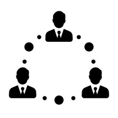 Simple, flat people networking icon. Black silhouette design. Isolated on white