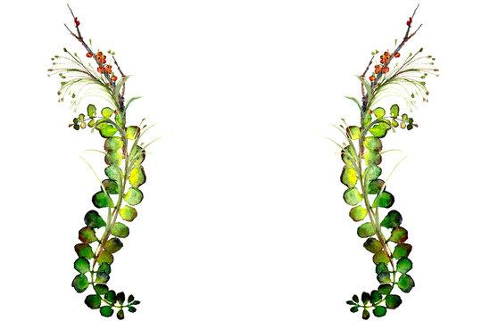 watercolor fern border frame