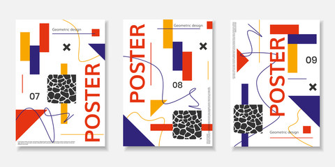 Covers templates set with abstract shapes, bauhaus, memphis and other graphic geometric elements.