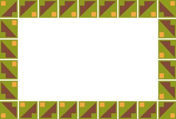Fondo de cuadrados y triángulos verdes y marrones.