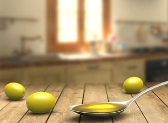 Spoon with olive oil and olives on the wooden table