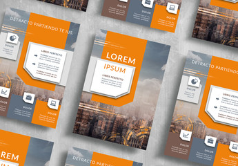 Business Flyer Layout with Orange Accents