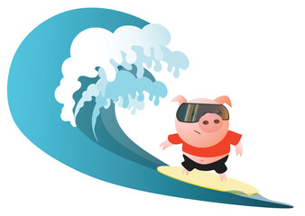 Pig  surfer with sunglasses. Vector illustration.  Isolated on transparent background.  Excellent for the design of postcards, posters, stickers and so on.