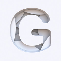 White abstract layers font Letter G 3D