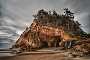 Hug Point State Park, Oregon and waterfall
