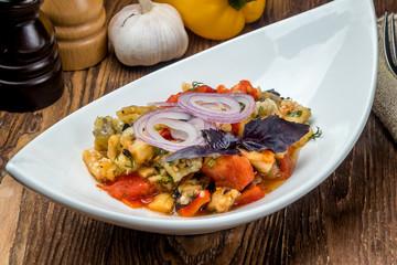 Salad of baked vegetables