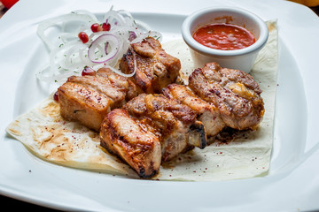 skewers of pork ribs