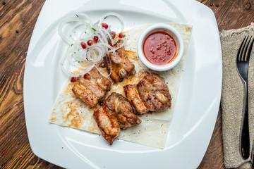 skewers of pork ribs
