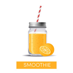 An orange smoothie in mason jar