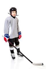 Junior Boy Ice Hockey Player Isolated on White Background