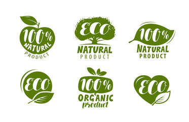 Eco label or logo. Set of healthy natural, organic product badges. Vector