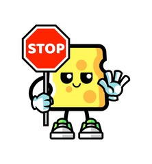 Cheese hold stop sign mascot cartoon illustration