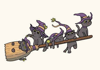Vector illustration of five black cats wearing witch hat and flying on a magical broomstick
