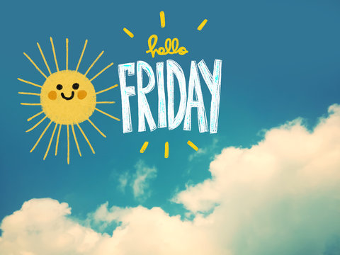 Hello Friday cute sun smile pencil color illustration on blue sky and cloud