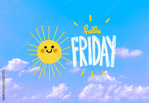 Happy Friday Cute Sun Smile Pencil Color Illustration On Blue Sky