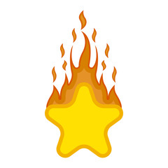 Comic star shape on fire icon