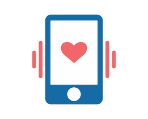 phone heart love valentine amour romance romantic lover image vector icon logo symbol