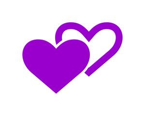 purple heart love valentine amour romance romantic lover image vector icon logo symbol
