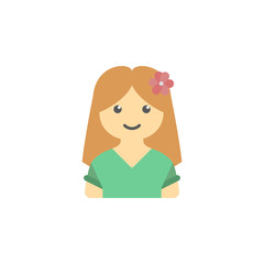 avatar of girl with flower in hair colored icon. Element of children icon for mobile concept and web app. Colored avatar of  girl with flower in hair can be used for web and mobile