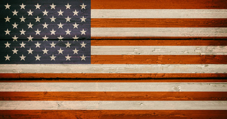 USA National Flag on a Wooden Background. American Grunge Flags Texture.