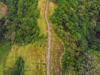 Aerial picture of Campuhan Ridge Walk , Scenic Green Valley in Ubud Bali. Photo from the drone