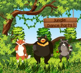 Wild animals dance in jungle