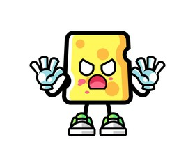 Cheese zombie mascot cartoon illustration