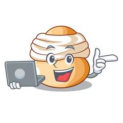 With laptop cartoon semla bun with almond paste