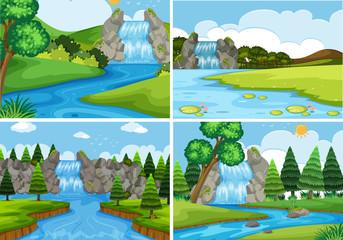 A set of nature water landscape