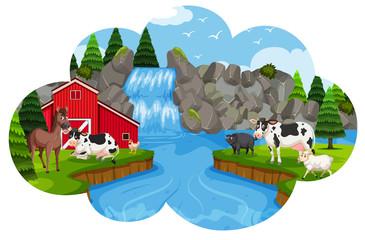 A rural farm in nature