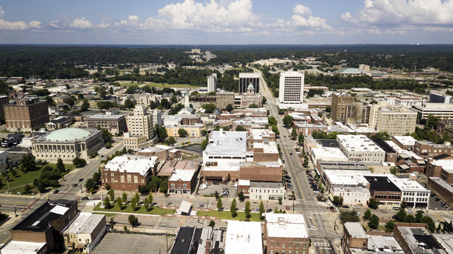 Aerial View Over The Streets Architecture and Buildings of Downtown Macon GA