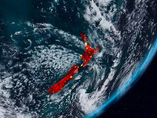 New Zealand on Earth at night