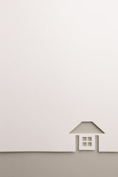 complete house cutout background by gray paper border