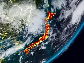 Japan on Earth at night