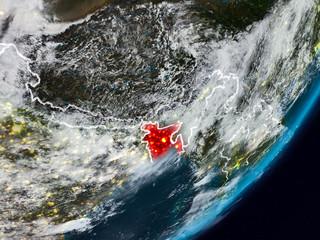 Bangladesh on Earth at night