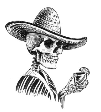 Dead Mexican with a tequila shot. Ink black and white illustration