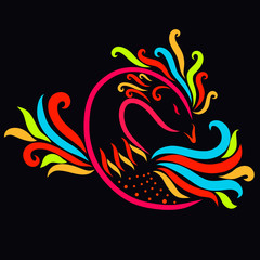 Beautiful colorful bird on a black background, a miracle