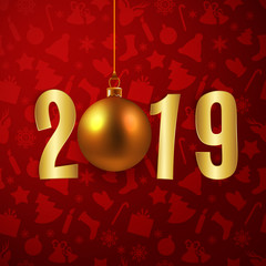 Happy New Year 2019 card with gold paper letters and Christmas bauble, vector illustration