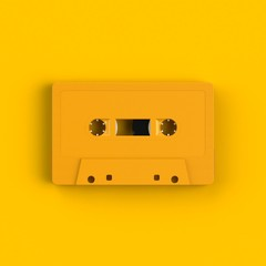 Close up of vintage yellow audio tape cassette illustration on yellow background, Top view with copy space, 3d rendering