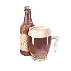 Hand drawn watercolor glass of dark beer with bottle, realistic illustration isolated on white background. Drink composition drawing.