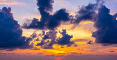 Beautiful colourful dramatic sunset cloudy sky.