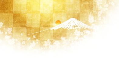 富士山と桜(市松模様の背景)