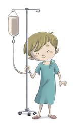 niño enfermo con bata de hospital