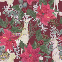 Christmas seamless pattern with Watercolor painting llamas and Red poinsettia flower arrangement. Hand drawn.