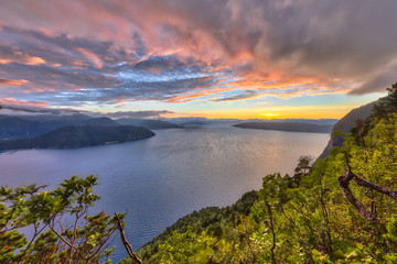 Wall Mural - Sunset over fjord around Vestnes in Norway in HDR